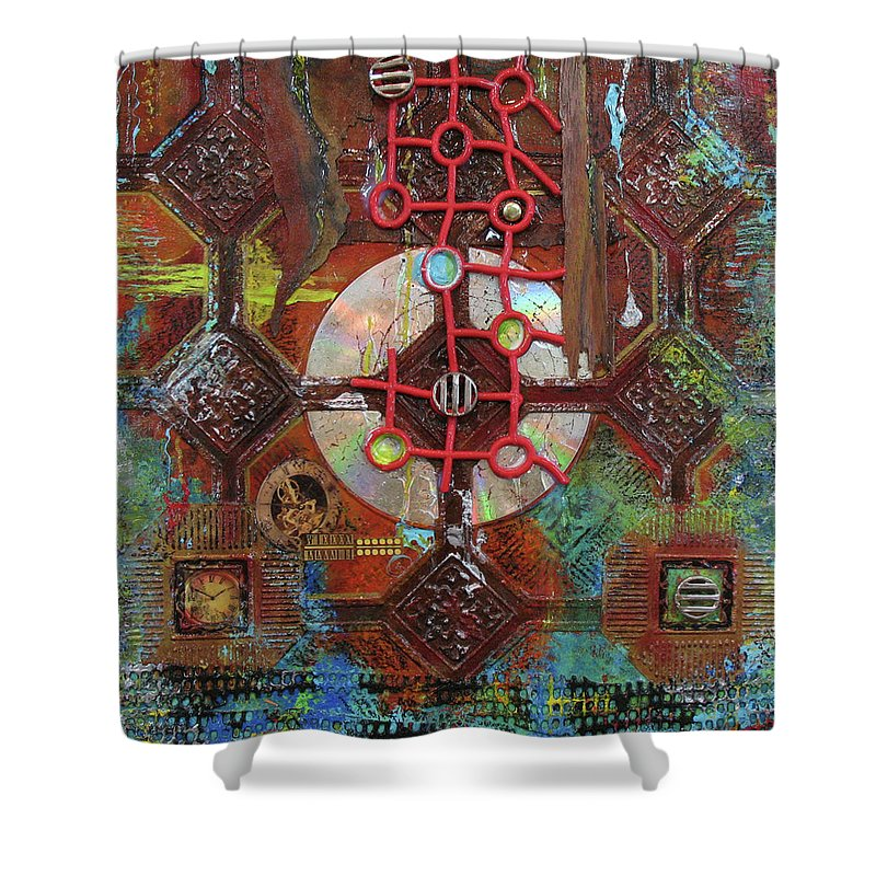 Assemblage Painting Shower Curtain featuring the painting Time Passage II by Elaine Booth-Kallweit