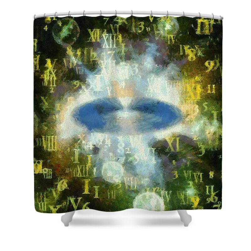 Time Shower Curtain featuring the painting Time Travel by Pierre Blanchard