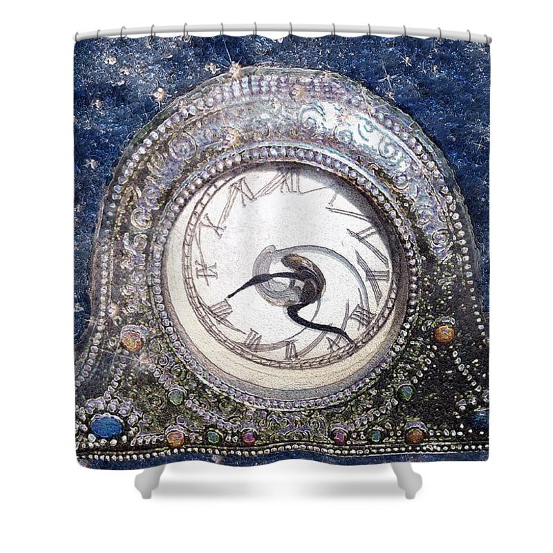 Clock Shower Curtain featuring the painting Time Warp by RC DeWinter