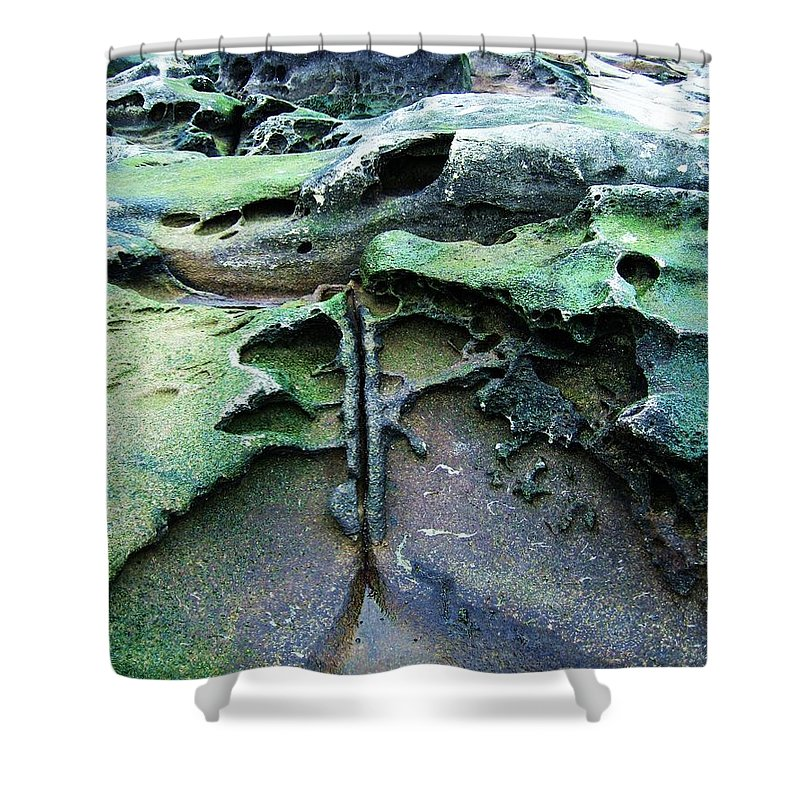 Photograph Rock Beach Ocean Shower Curtain featuring the photograph Time Washed Out by Seon-Jeong Kim