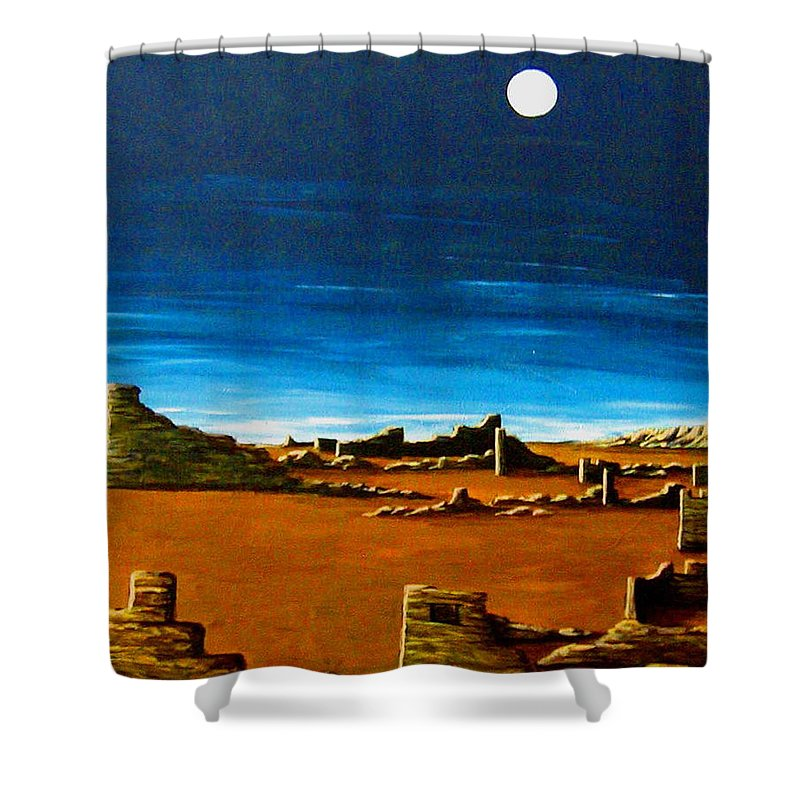 Anasazi Shower Curtain featuring the painting Timeless by Diana Dearen
