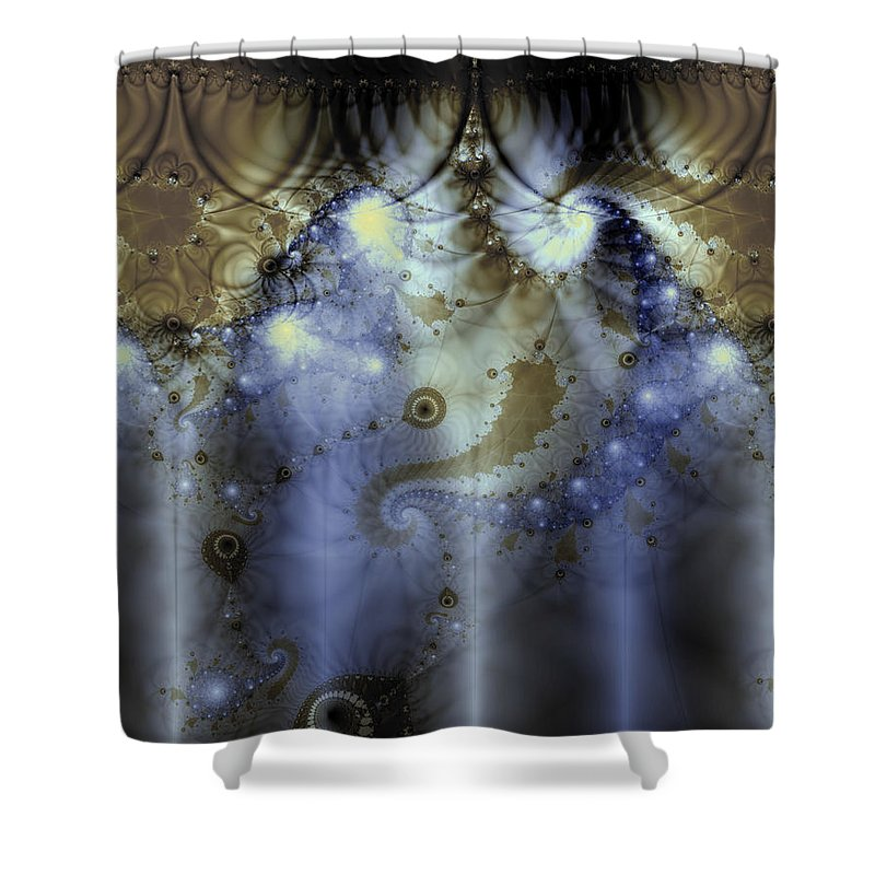 Blue Shower Curtain featuring the digital art Timeline Of History by Casey Kotas