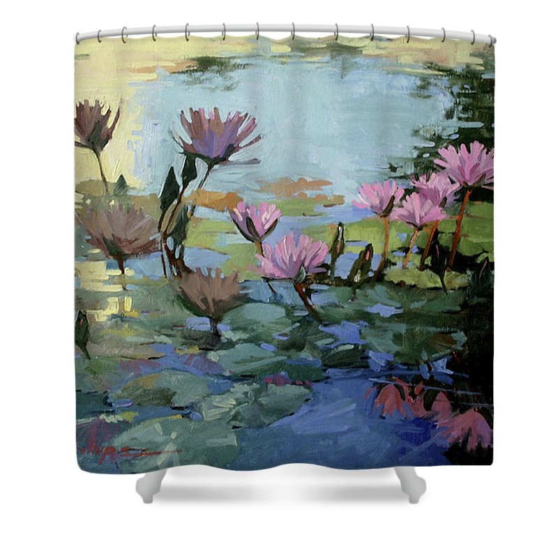 Floral Shower Curtain featuring the painting Times Between - Water Lilies by Betty Jean Billups