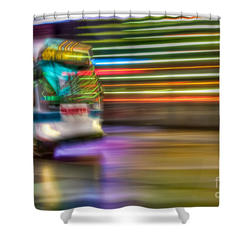 Clarence Holmes Shower Curtain featuring the photograph Times Square Bus by Clarence Holmes