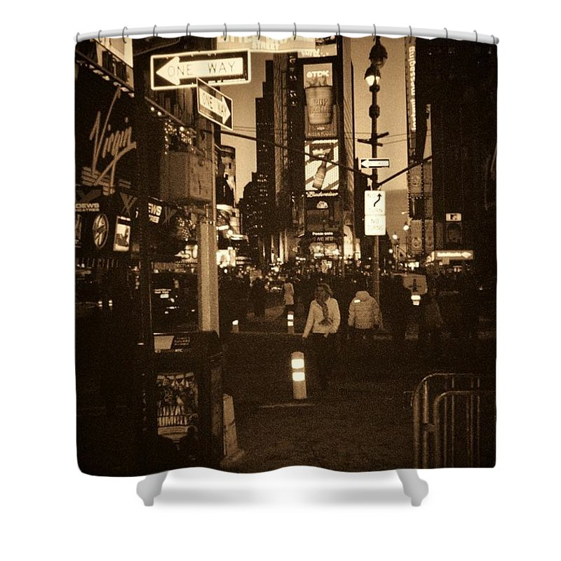 New York Shower Curtain featuring the photograph Times Square by Debbi Granruth