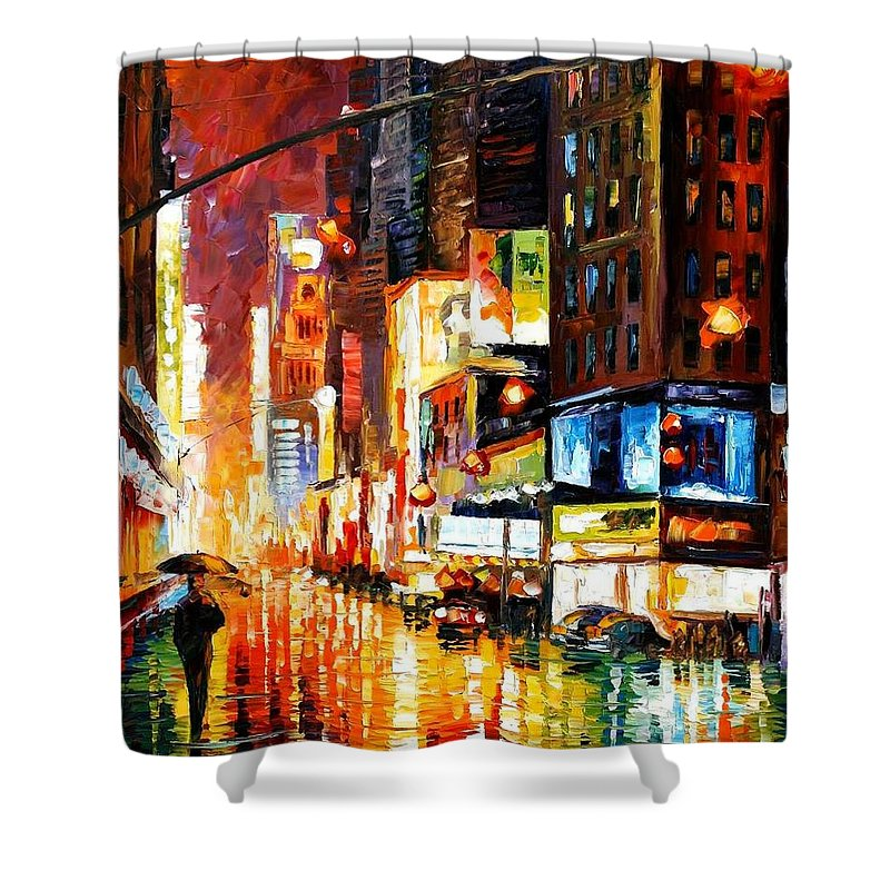 City Shower Curtain featuring the painting Times Square by Leonid Afremov
