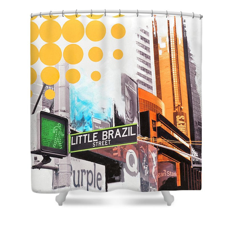 Ny Shower Curtain featuring the painting Times Square Little Brazil by Jean Pierre Rousselet