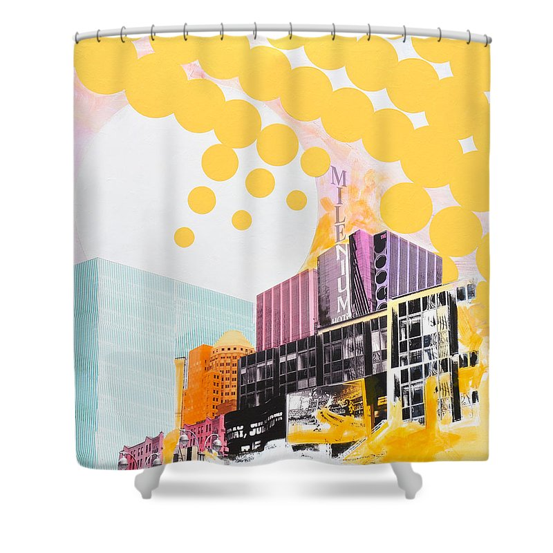 Ny Shower Curtain featuring the painting Times Square Milenium Hotel by Jean Pierre Rousselet