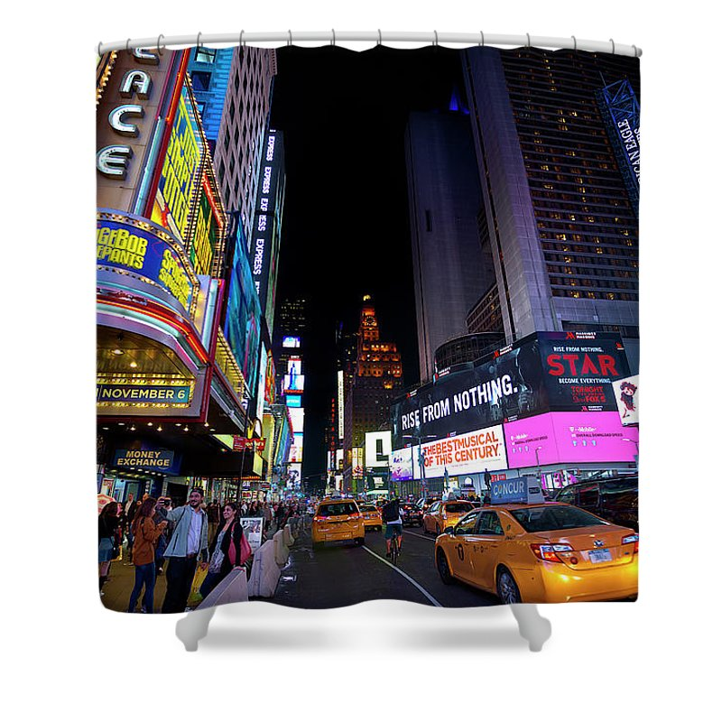Ny Shower Curtain featuring the photograph Times Square Night by Brian Knott Photography