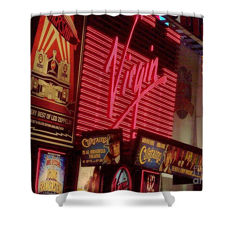 Times Square Shower Curtain featuring the photograph Times Square Night by Debbi Granruth