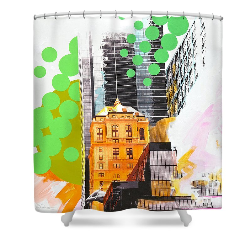 Ny Shower Curtain featuring the painting Times Square Ny Advertise by Jean Pierre Rousselet