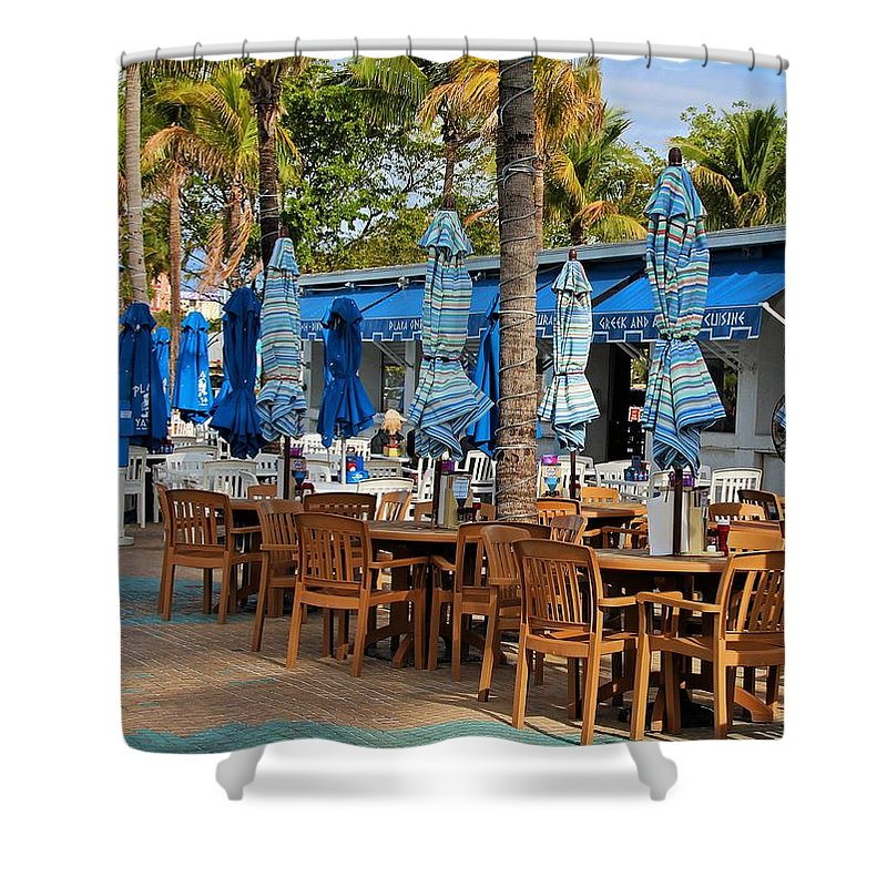 Times Square Shower Curtain featuring the photograph Times Square Of Ft Myers by Michiale Schneider
