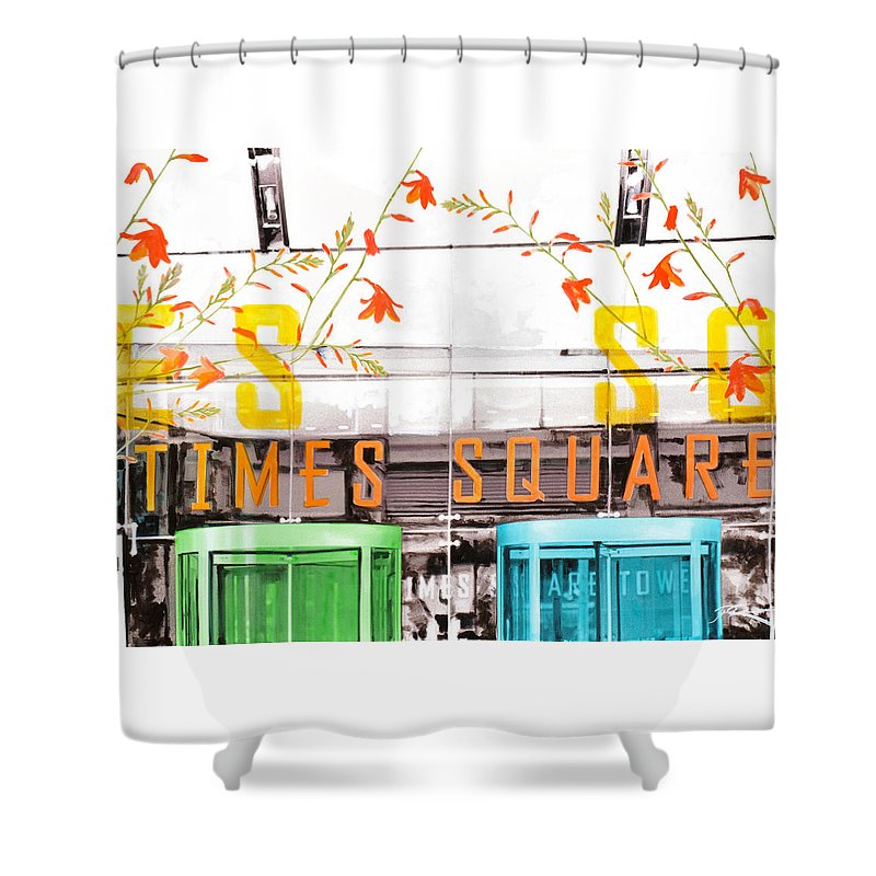 Ny Shower Curtain featuring the painting Times Square Tower by Jean Pierre Rousselet