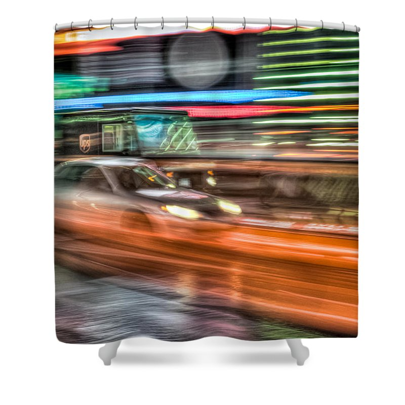 Clarence Holmes Shower Curtain featuring the photograph Times Square Traffic by Clarence Holmes