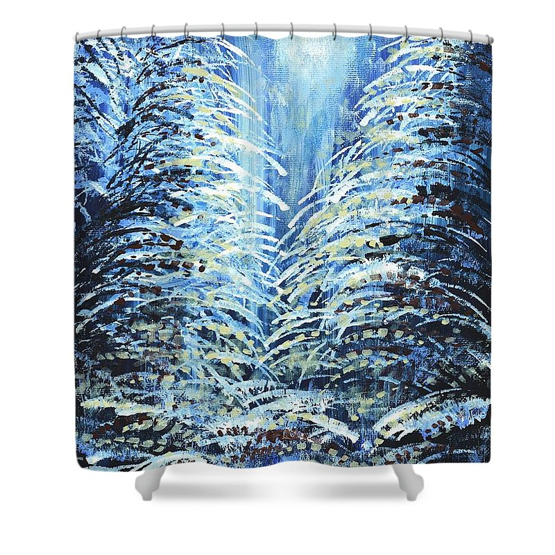Forest Shower Curtain Featuring The Painting Tims Winter By Holly Carmichael