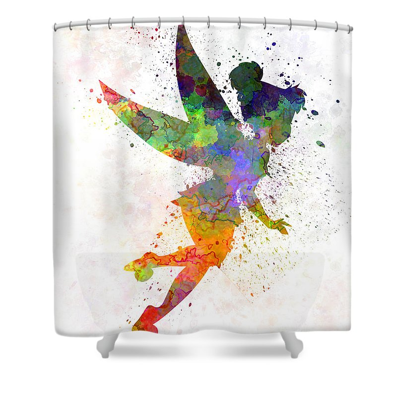 Tinkerbell Shower Curtain Featuring The Painting In Watercolor By Pablo Romero