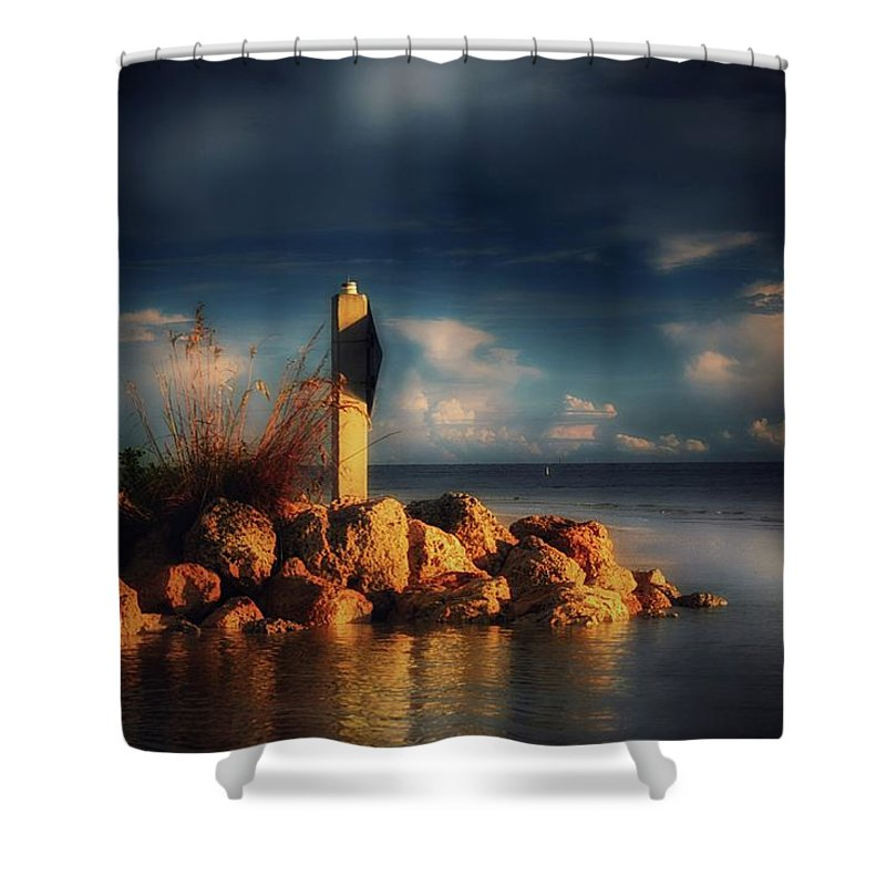 Ester Bay Shower Curtain featuring the photograph Tip Of The Island by Shelley Smith