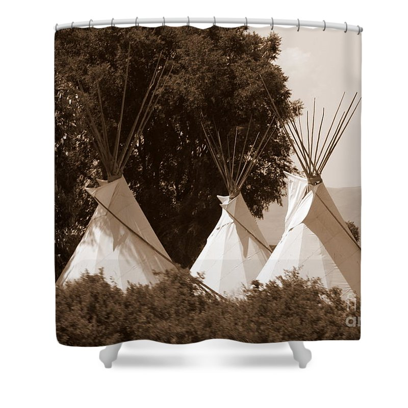 Tipis Shower Curtain featuring the photograph Tipis In Toppenish by Carol Groenen