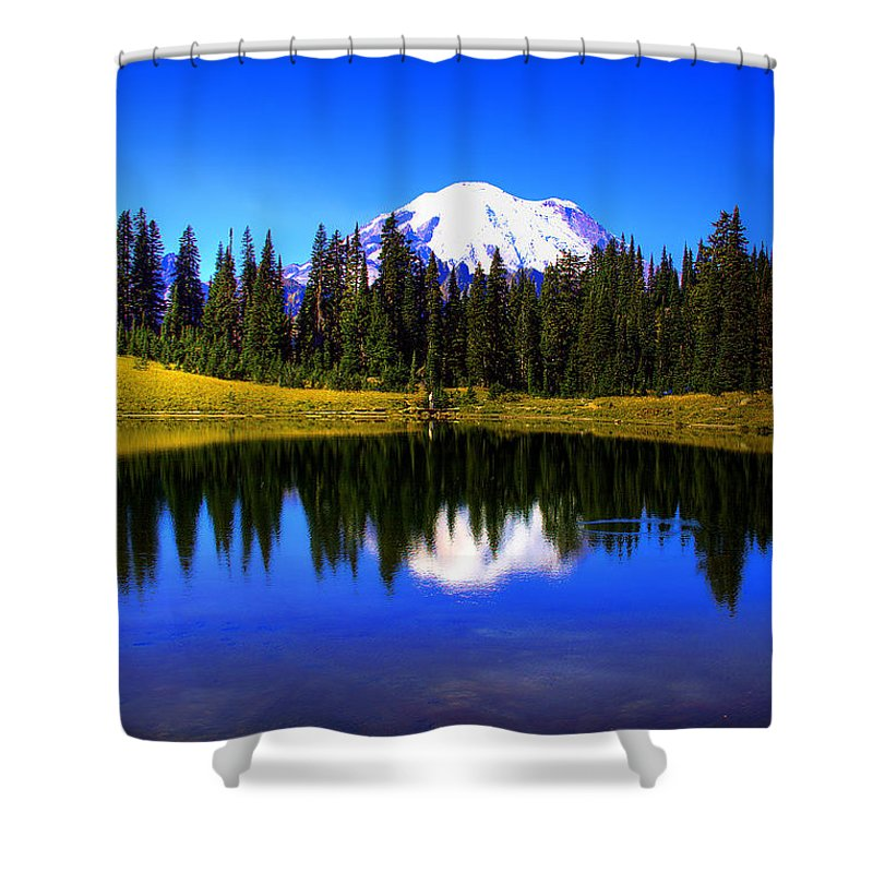 Mountain Shower Curtain featuring the photograph Tipsoo Lake And Mt Rainier by David Patterson