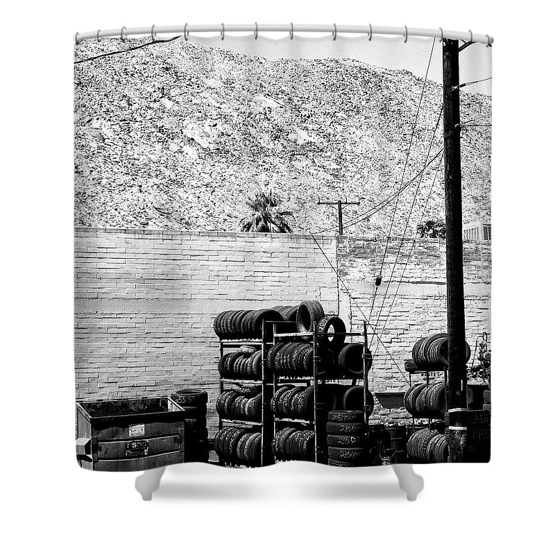 Industrial Desert Shower Curtain featuring the photograph Tire Center by William Dey