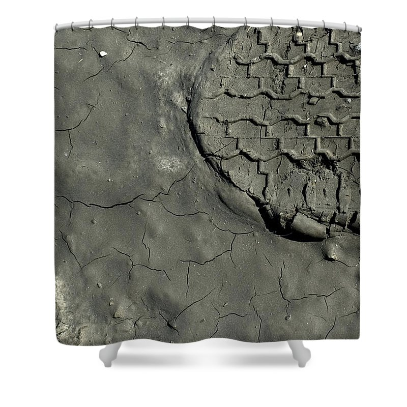 Photography Shower Curtain featuring the photograph Tire Track In Gray Mud by Todd Gipstein
