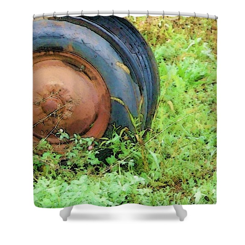 Tire Shower Curtain featuring the photograph Tired by Debbi Granruth