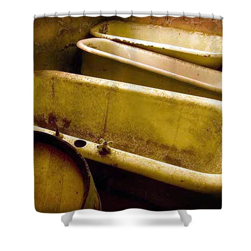 Historic Califortnia Shower Curtain featuring the photograph Tired Tubs by Norman Andrus