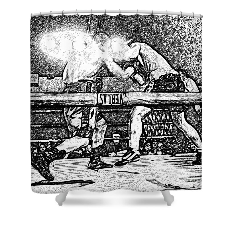 Boxing Shower Curtain featuring the photograph Titans Of The Ring by David Lee Thompson