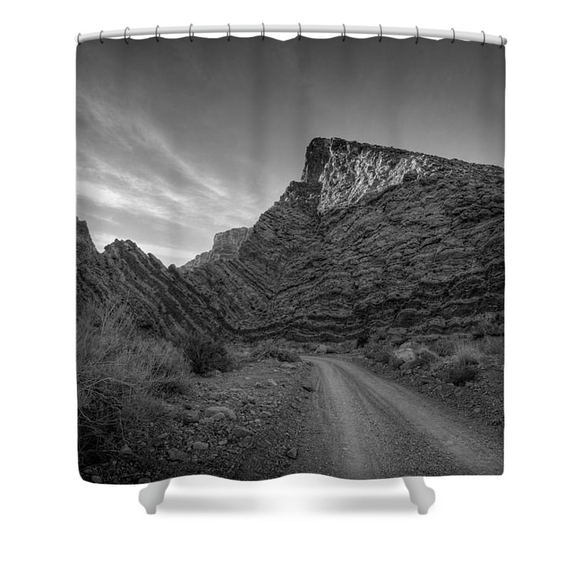 Black & White Shower Curtain featuring the photograph Titus Canyon Road by Peter Tellone