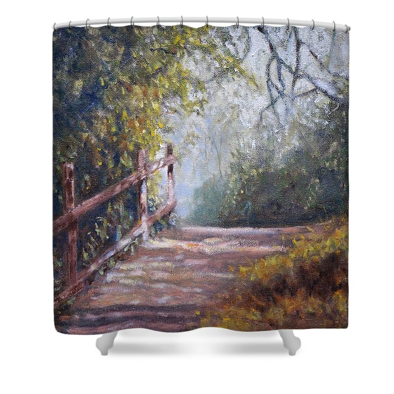 Landscape Shower Curtain featuring the painting To Bog Meadow by Tom Pigot