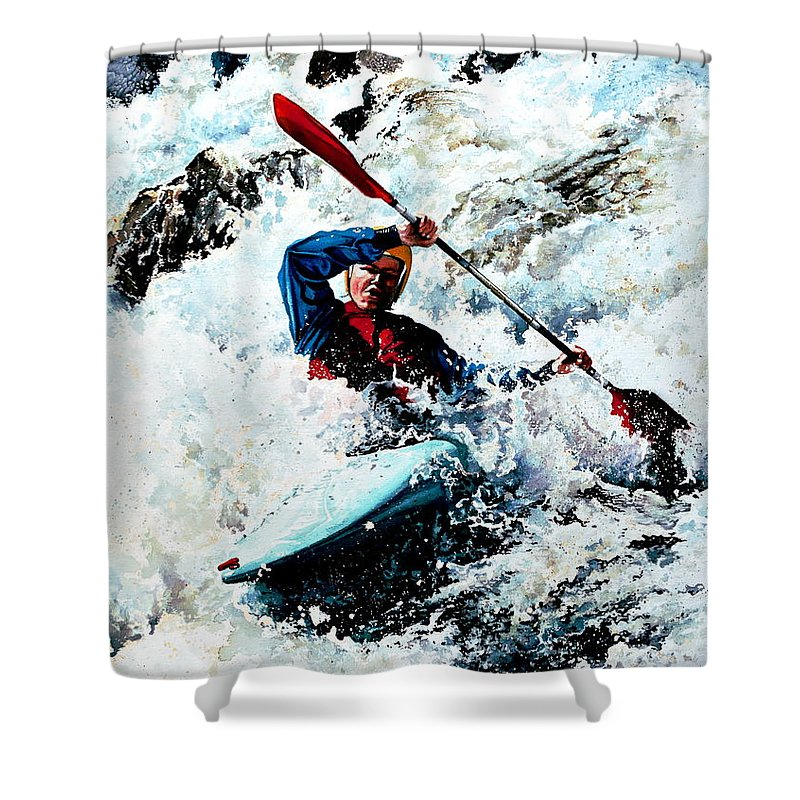 Sports Artist Shower Curtain featuring the painting To Conquer White Water by Hanne Lore Koehler