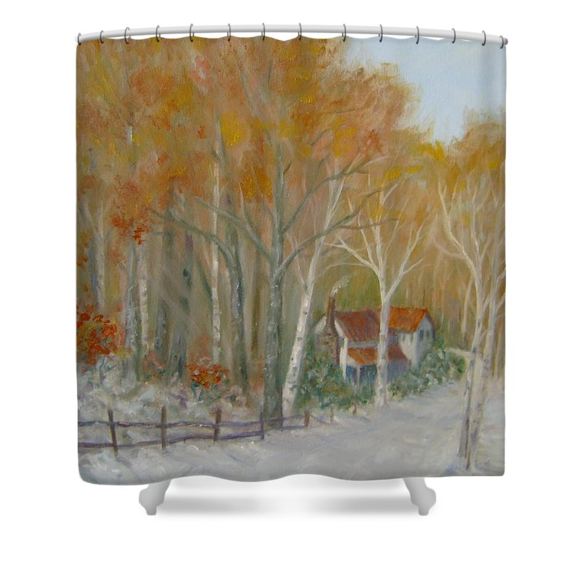 Country Road; House; Snow Shower Curtain featuring the painting To Grandma's House by Ben Kiger