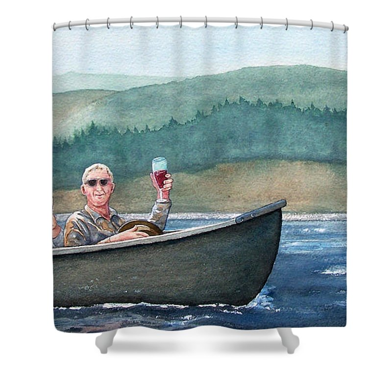 Canoe Shower Curtain featuring the painting To Life by Gale Cochran-Smith