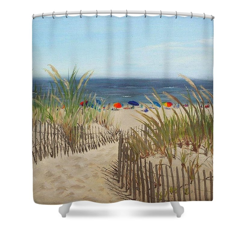 Beach Shower Curtain featuring the painting To The Beach by Lea Novak