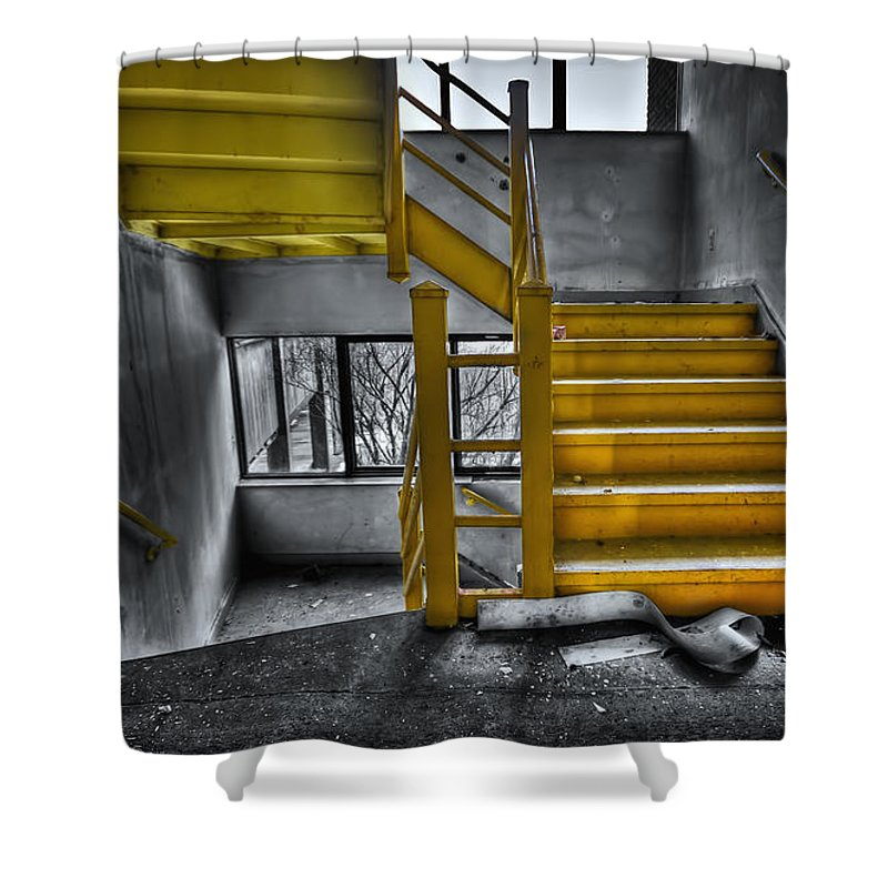 Stair Shower Curtain featuring the photograph To The Higher Ground by Evelina Kremsdorf