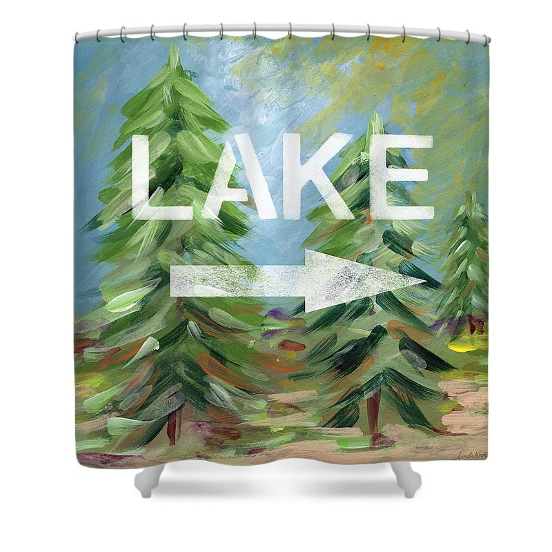 Lake Shower Curtain featuring the painting To The Lake - Art By Linda Woods by Linda Woods