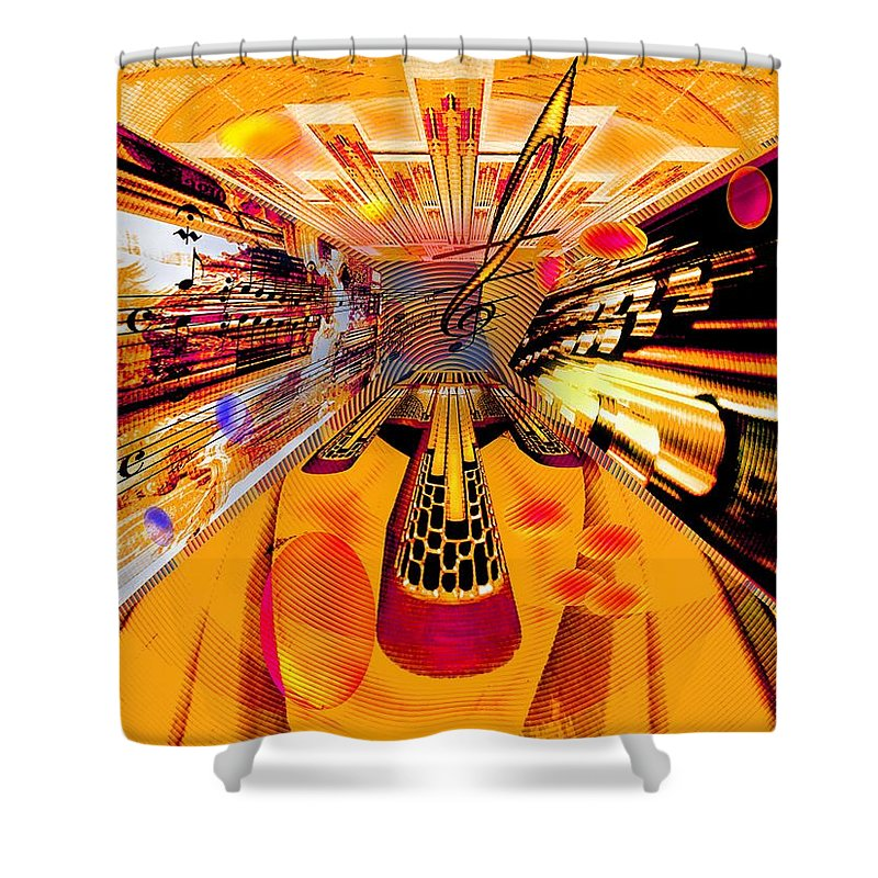Toccata Shower Curtain featuring the digital art Toccata- Masters View by Helmut Rottler