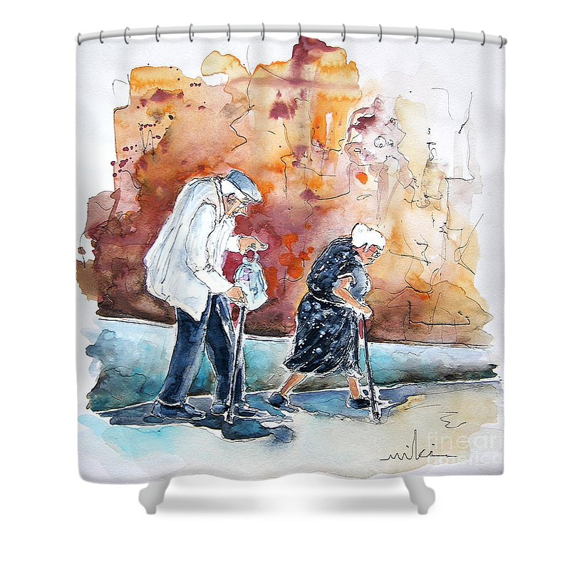 Portugal Paintings Shower Curtain featuring the painting Together Old In Portugal 01 by Miki De Goodaboom