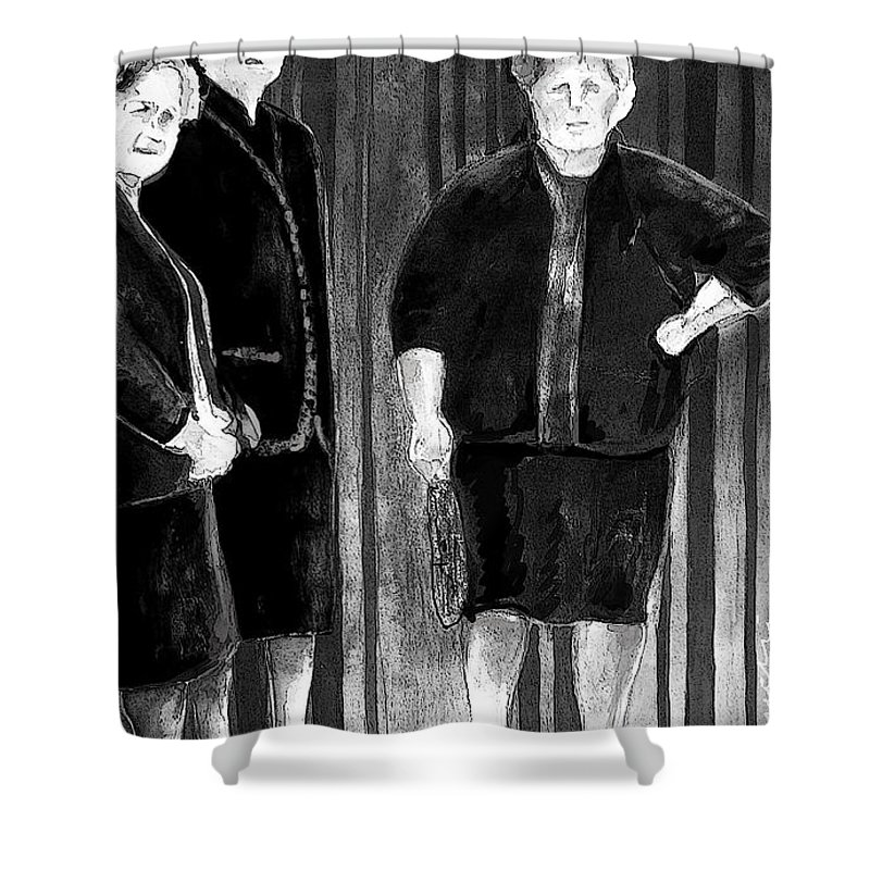 Tarbena. Spain People Shower Curtain featuring the painting Together Old In Spain 01 by Miki De Goodaboom