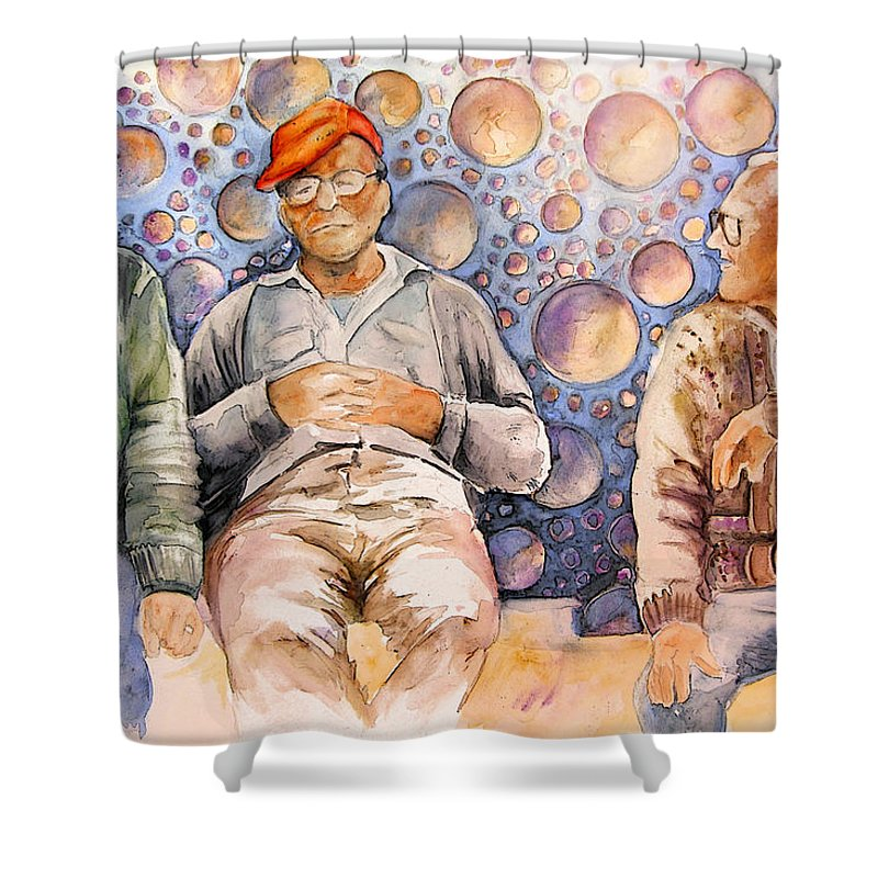 Shower Curtain featuring the painting Together Old In Spain 02 by Miki De Goodaboom