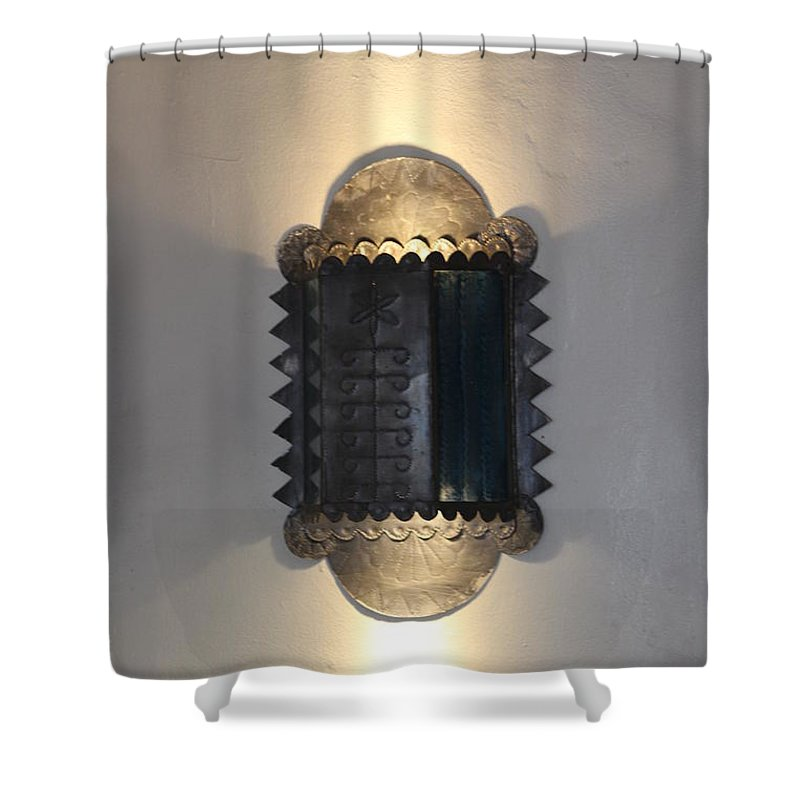 Tole Work Shower Curtain featuring the photograph Tole Work Wall Sconce by Colleen Cornelius