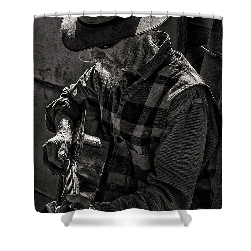 Thomas Gartner Shower Curtain featuring the photograph Tom And His Steel Guitar by Thomas Gartner