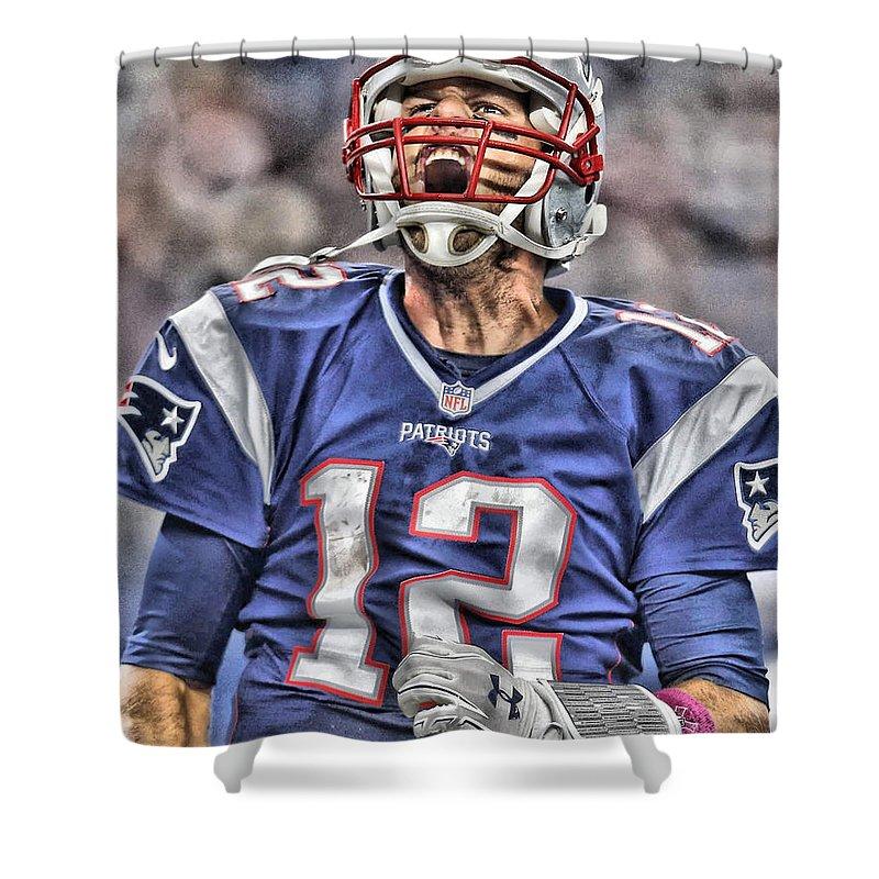 Tom Brady Art 5 Shower Curtain for Sale by Joe Hamilton