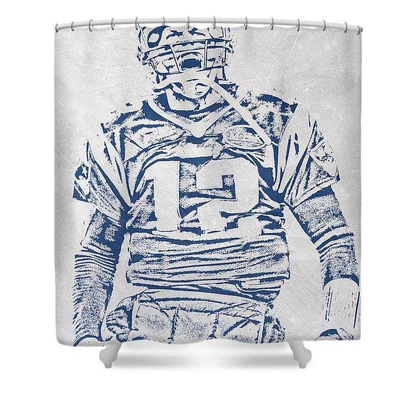 Tom Brady Shower Curtain Featuring The Mixed Media New England Patriots Pixel Art 1