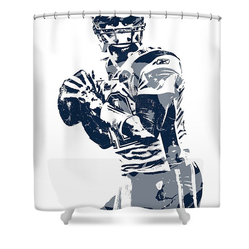 Tom Brady Shower Curtain Featuring The Mixed Media New England Patriots Pixel Art 35