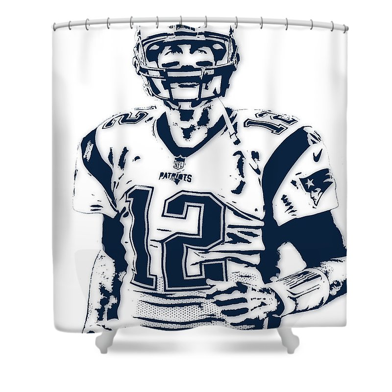 Tom Brady Shower Curtain Featuring The Mixed Media New England Patriots Pixel Art 6