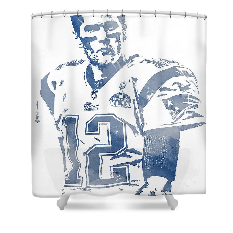 Tom Brady Shower Curtain Featuring The Mixed Media New England Patriots Water Color Pixel