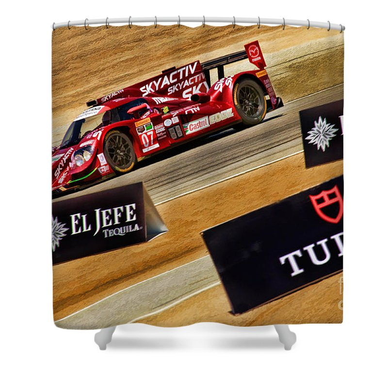 Tom Long Shower Curtain featuring the photograph Tom Long And Joel Miller Tudor United Sportcar Championship by Blake Richards