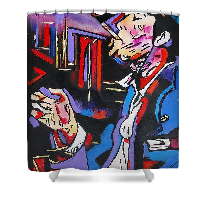 Tom Waits Shower Curtain featuring the painting Tom Traubert's Blues by Eric Dee