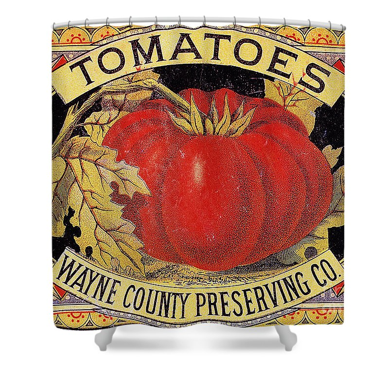20th Century Shower Curtain featuring the photograph Tomato Can Label by Granger